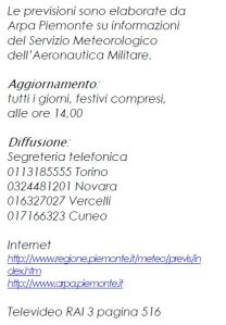 Bollettini ARPA Piemonte consultabili telefonicamente