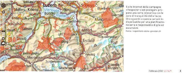 mappa zone tranquillità fauna