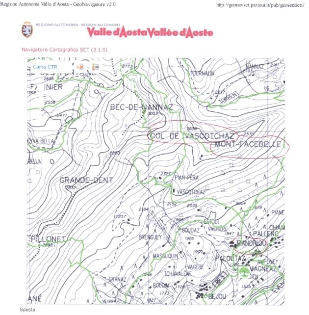Estratto carta estrapolato dal sito della Regione Autonoma Valle d'Aosta - Catasto Sentieri SCT - http://geonavsct.partout.it/pub/geosentieri/