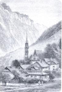 """Primiero - incisione tratta da Amelia B.Edwards, """"A midsummer ramble in the Dolomites"""", 1889 -"""