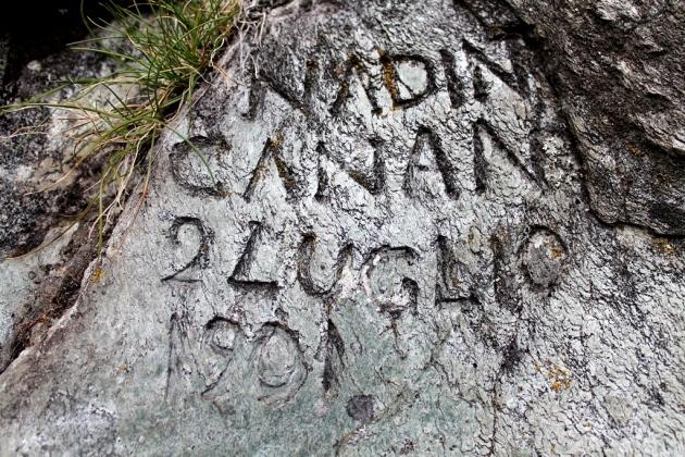 Incisione di Bernardo (Nadin) Castagneri Canàn, bisnonno dell'autore del testo