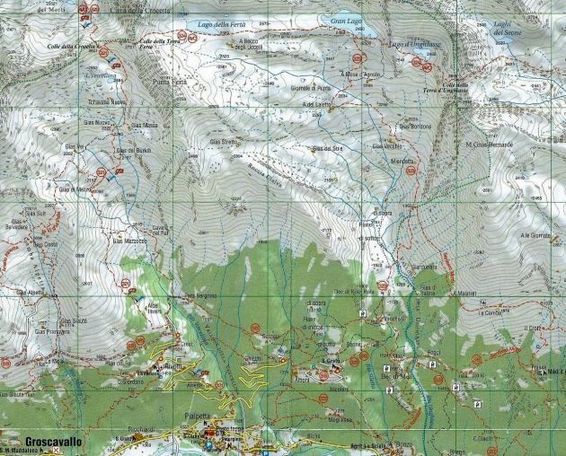 Carta escursionistica della zona interessa dalle piste