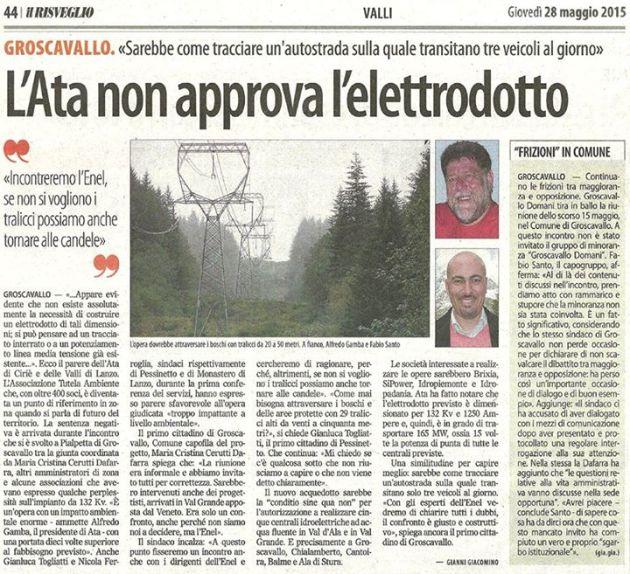 L'ATA non approva l'elettrodotto (Il Risveglio 28.05.15)