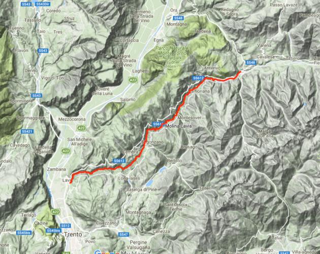 La Val di Cembra con il percorso fluviale lungo l'Avisio, nel Trentino orientale